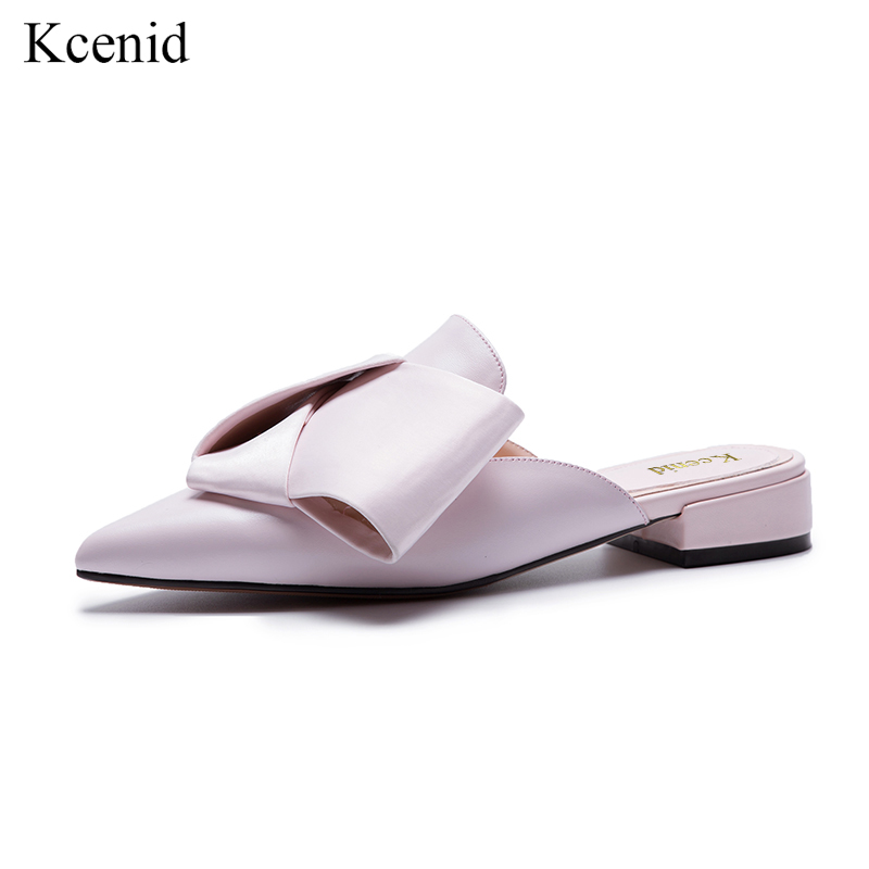 Kcenid Sweet big bowtie pointed toe genuine leather mules slip on low heel shoes woman dress