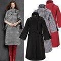 2015 casaco Islâmico vestuário Muçulmano para as mulheres casaco de lã longo plus size bolsos meia manga outwear quente roupas meninas djellaba