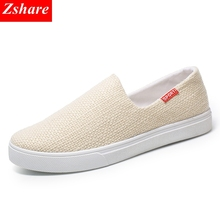 2019 Summer Men Canvas Shoes Slip on Loafers Mens Casual Shoes Brand Fashion Breathable Male Driving Shoes zapatillas hombre стоимость