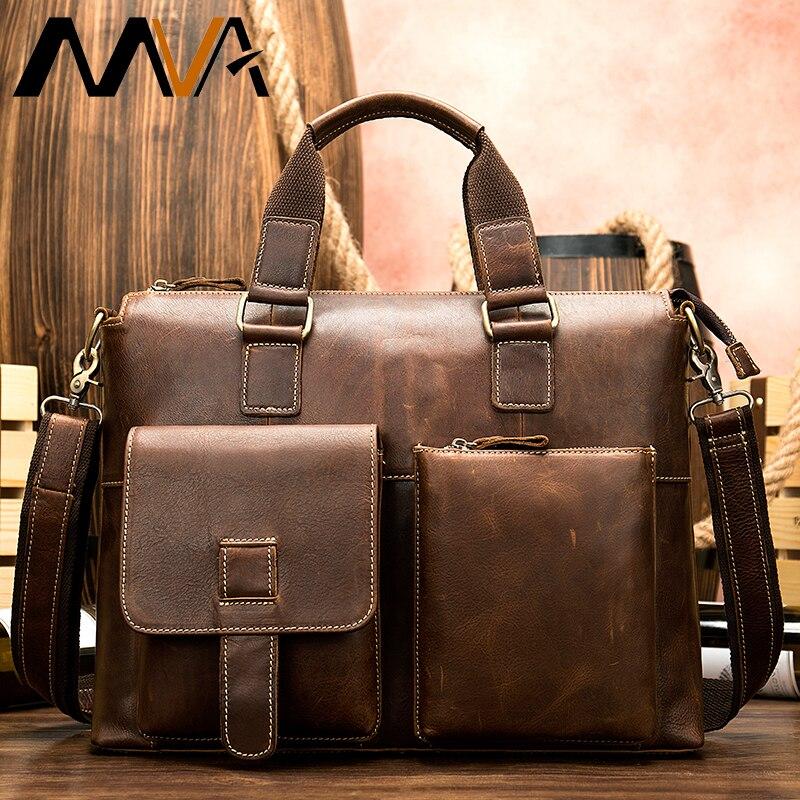 MVA Men's Briefcase/Genuine Leather Bag Men Vintage Laptop/Office Bags For Men Briefcases Men's Bag Of Leather Computer Bags 260
