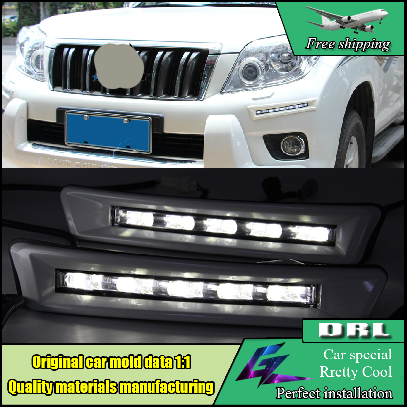 Car styling LED Daytime Running Fog Light DRL For Toyota LAND CRUISER Prado 2700 4000 FJ150 LC150 2010 2011 2012 2013 dimmed light function car led drl daytime running lights with fog lamp hole for toyota prado land cruiser fj150 lc150 2010 2013