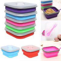 Hot Foldable Collapsible Bento Silicone Sealed Corrosion Proof Lunch Box Spoon Utensils Picnic Food Container Storage