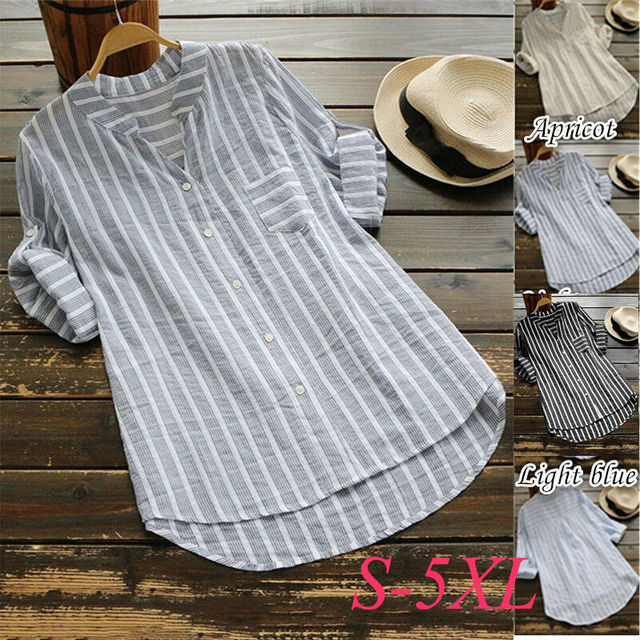 New Womens Summer Striped V Neck Blouses Loose Baggy Tops Cotton and Linen Button Down Tunic Shirts Plus Size 6