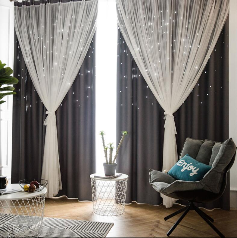 Nordic Ins Modern Tulle+Black Out Double Curtains With StarTassel High Black Out Blinds Window Curtains For Livingroom