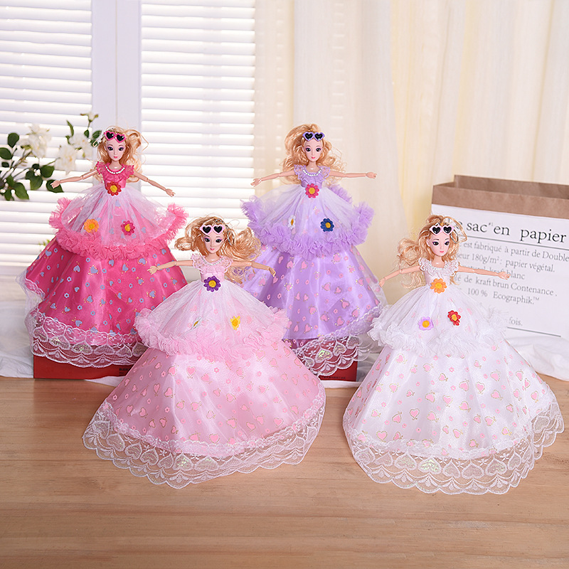 Dolls Heart shape Skirt Princess Wedding Dress Doll Toys for Children Girls dolls set Baby 3D Eyes Toy 45CM 4pcs