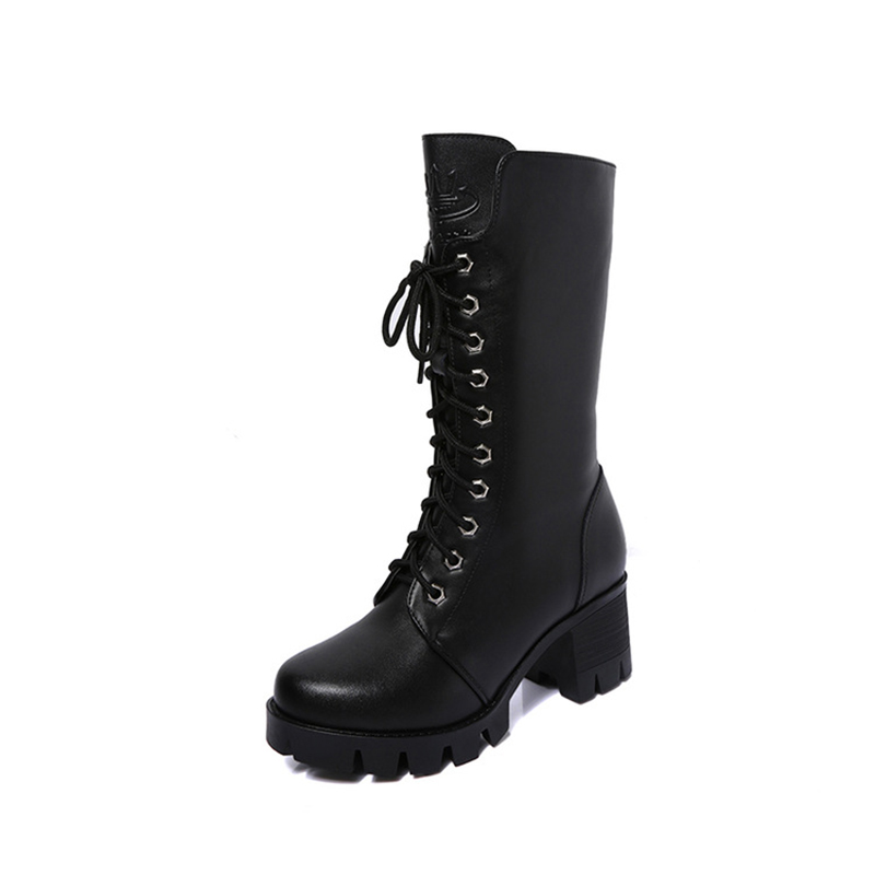 Occident style Lady Motorcycle Boots Cross-tied High Heel Thick sole Martin boots Classic Retro Punk Gothic Platform women Shoes 2016 new winter women black high heel martin ankle boots buckle gothic punk motorcycle combat boots shoes platform free shipping