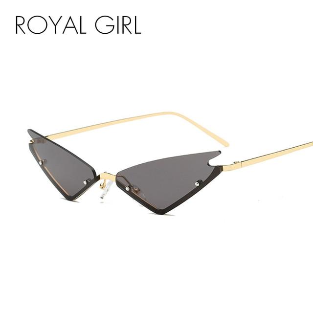 7593a551eff8 ROYAL GIRL Vintage Cat Eye Sunglasses Women 2018 Brand Designer Half Frame Sun  Glasses Men Rimless Mirror Eyeglasses UV400 ss890