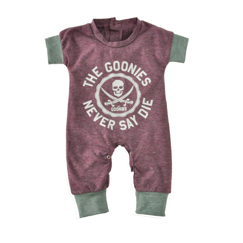 Newborn Infant Rompers Summer Short Sleeve Cotton Jumpsuit Toddler Kids Casual Suit Goonies Skull Print Baby Clothing 0-18M