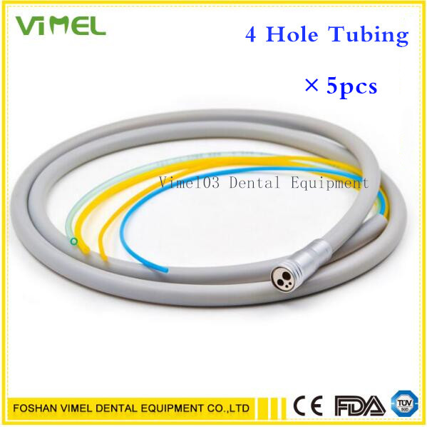 Free Shipping 5 Dental 4 Holes Hand piece Hose Tube with Connector for High Speed Hand