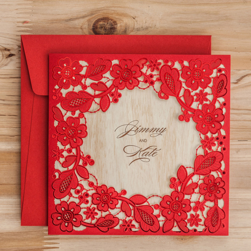 Wishmade Laser Cut Embossed Red Gold White Lace Wedding Invitations