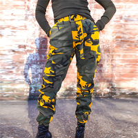 Women's Fashion Pocket Lace up Cargo Pants Women Casual Camouflage Trousers High Waist Sashes Overalls Gothic Bodycon Joggers