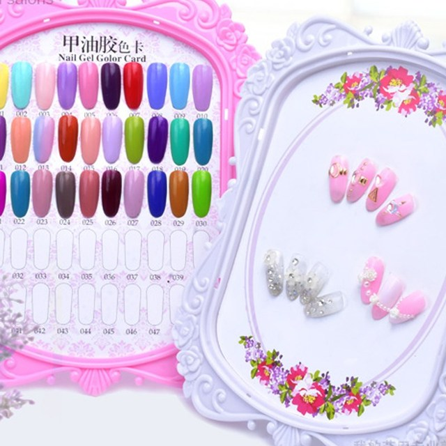 48 Color Nail Art Display Stand Gel Polish Board Chart Flower Design