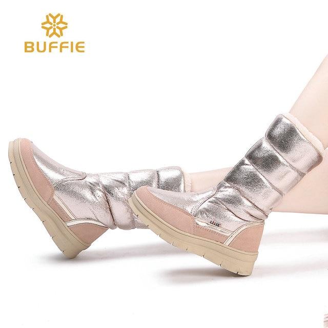 Kadın düz Yüksek kar botları kış sıcak ayakkabı altın renk moda stil güzel görünümlü kalın kürk astarı hızlı ücretsiz kargo