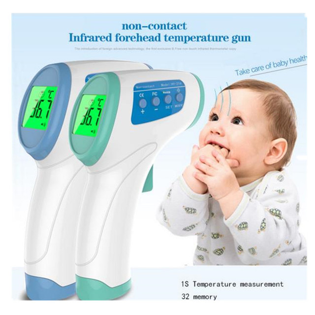 2016 New LCD Digital Infrared Thermometer Baby Multi-Function Non-contact Infrared Forehead BodyThermometer Gun( No battery )