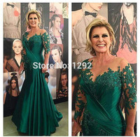 Green 2019 Mother Of The Bride Dresses Mermaid Long Sleeves Appliques Beaded Long Wedding Party Dress Mother Dress For Wedding