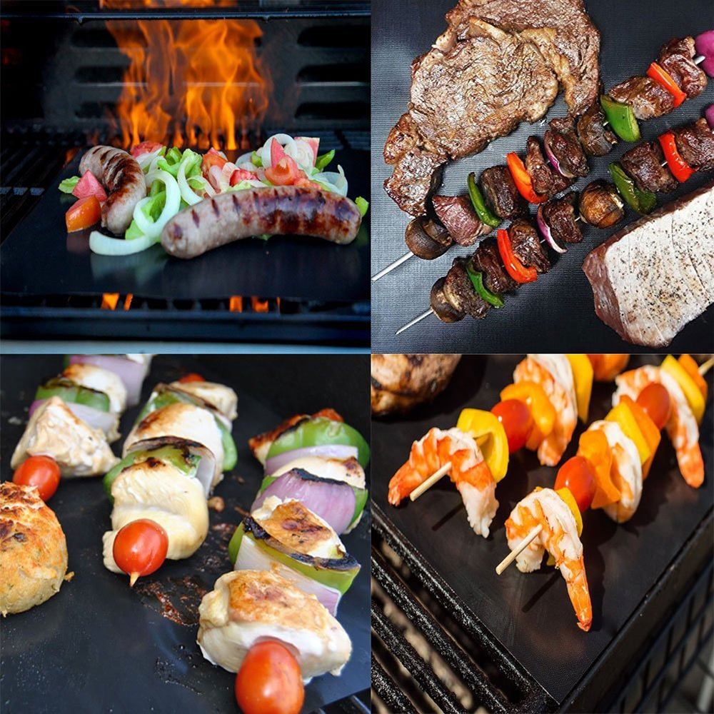 Behogar 2pcs Reusable Non-stick BBQ Grill Mat Pads Sheet Baking Easy Clean Grilling Bakeware Picnic Cooking Barbecue BBQ Tool