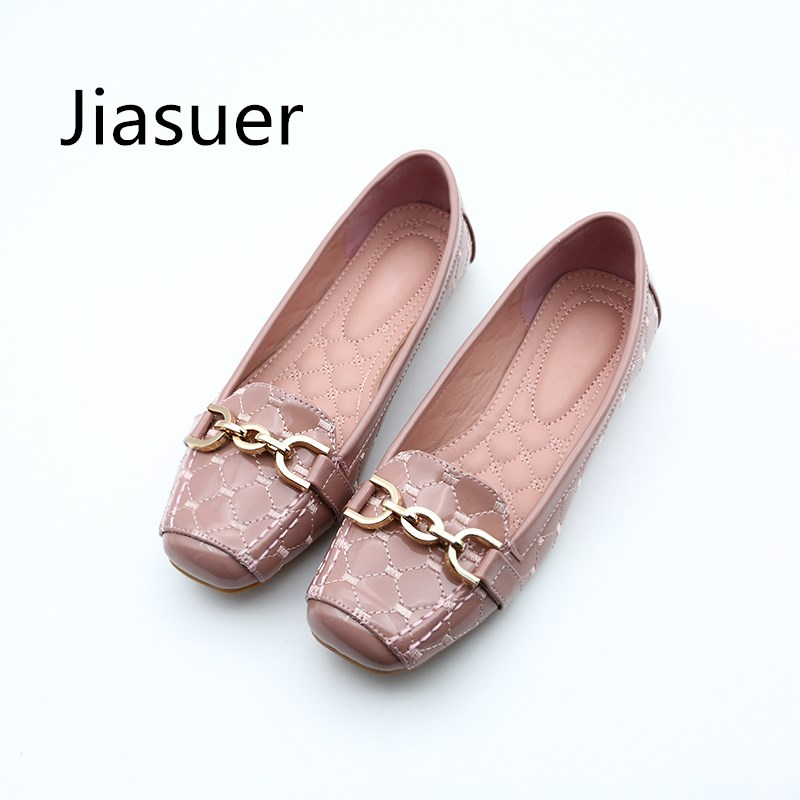 Jiasuer Spring New Fashion Women Flat Shoes Patent Leather Casual Metal Buckle Square Toe Boat Shoes For Office Ladies hxrzyz large size women black flat shoes female patent leather loafers spring autumn new fashion pointed toe buckle casual shoes