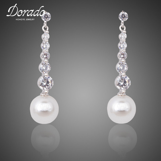 Dorado New Fashion White Pearl Dangle Earring Jewelry High Quality Women Engagement Drop Earrings With Crystal