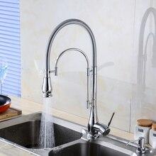 Polished Chrome Deck Góra Chrome Kitchen Sink Kran Wiosna Bar Kuchnia Zawory Mieszające bateria Jednouchwytowa