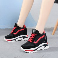 NEW Chunky High Heel Shoes Sneakers Women 2019 Spring Female Casual Shoes High Top Platform Sneakers For Women Sneaker
