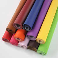 Pure Coloured Litchi Pattern PU Leather Fabric Small Pebbled Faux Artificial Synthetic PU Leather Fabric DIY Sewing Bag Material