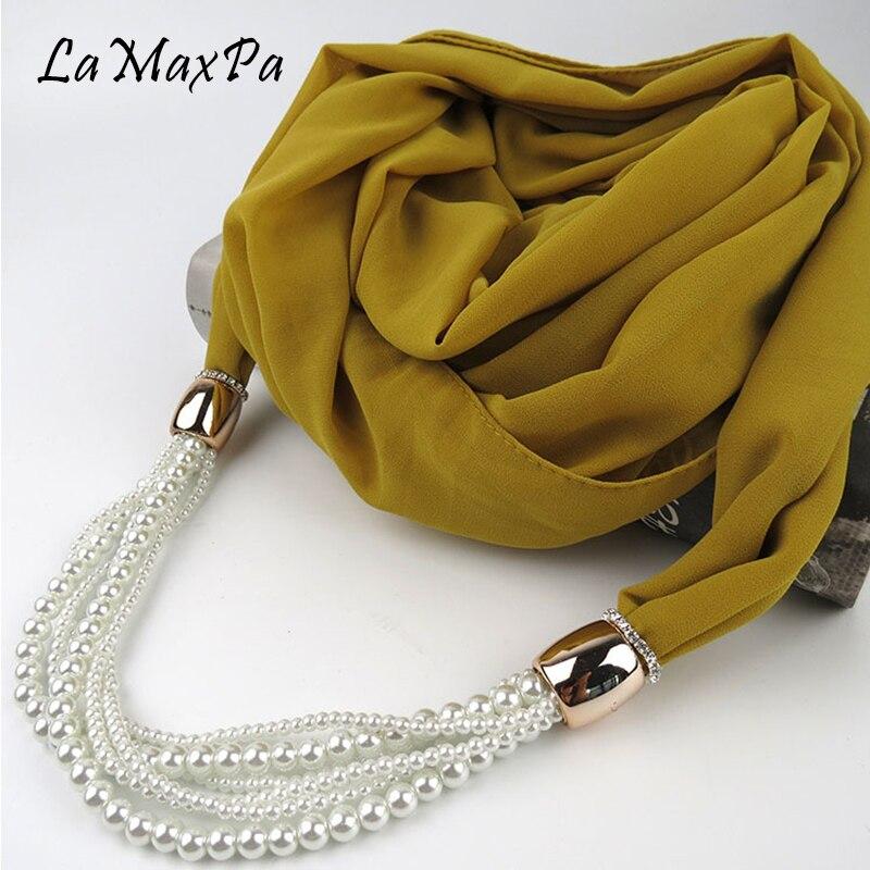 a33fe346c1d5 LaMaxPa Mode Femmes Pendentif Écharpe Solide et Imprimer Mousseline de Soie Bijoux  Écharpe Femmes Foulards de