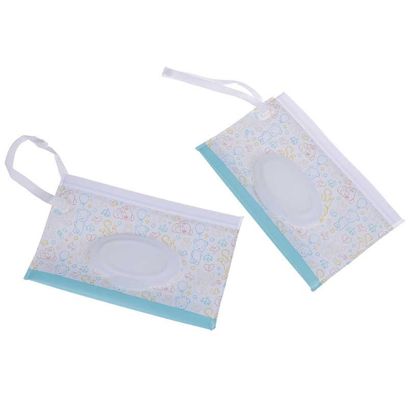 1PCS แฟชั่นผ้าเช็ดทำความสะอาดกระเป๋าถือคลัทช์และทำความสะอาดผ้าเช็ดทำความสะอาดเปียกกระเป๋า Easy-Carry Snap-สำหรับรถเข็นเด็กกระเป๋าเครื่องสำอาง