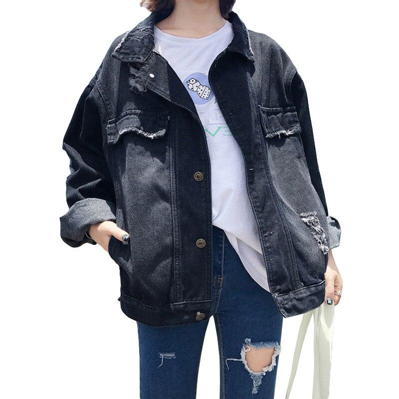 27fa2c048bcf Frayed Hole Jean Jacket 2019 Womens Denim Coat Fall Winter Basic Black Denim  Jacket Casual Boyfriend