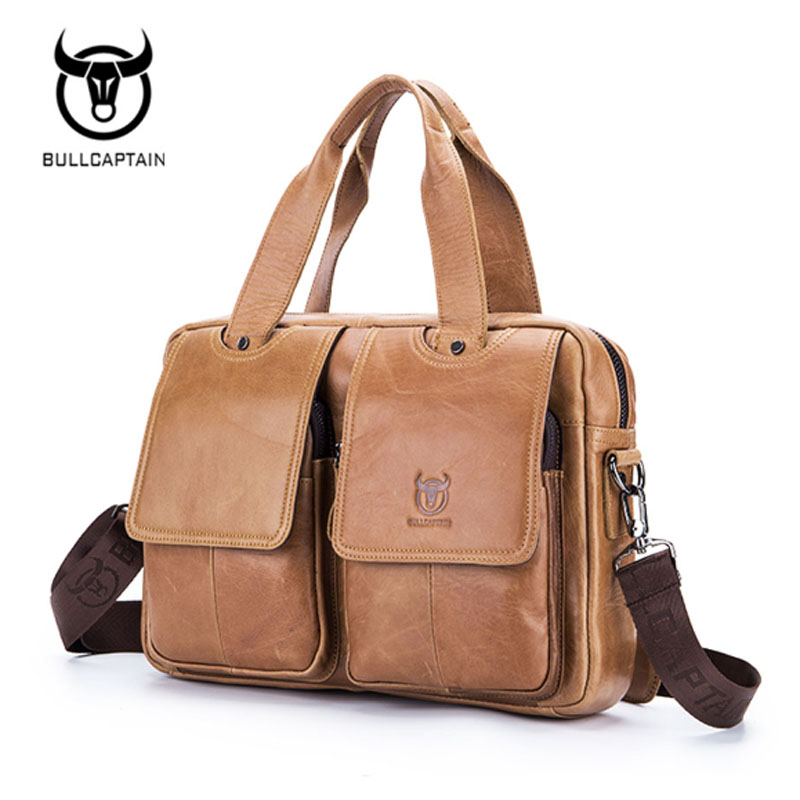 7547d048ae9b BULL CAPTAIN Genuine Leather Messenger Shoulder Crossbody Bags Tote Handbag  Casual Business Top Handle Travel Bag Leather Bag