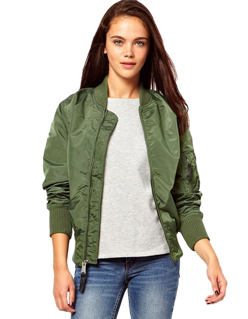 Images of Long Army Green Jacket - Reikian