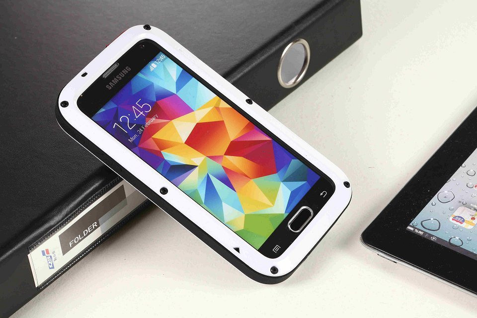 Luxury Doom armor Dirt Shock Metal Aluminum phone cases For samsung Galaxy NOTE5 S3 S4 S5 S6 note4 note 3 cover + Tempered glass