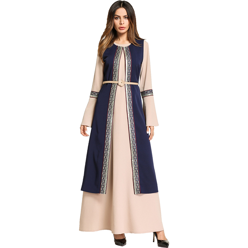 Casual Women's Maxi Dress Embroidery Abaya Chiffon Long Robe Gowns Muslim Middle East Moroccan Ramadan Arab Islamic Clothing