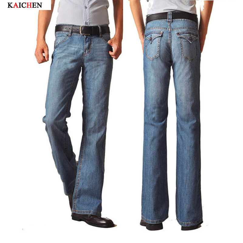High Quality Brand Mens Flared Jeans Slim Blue Men Bell