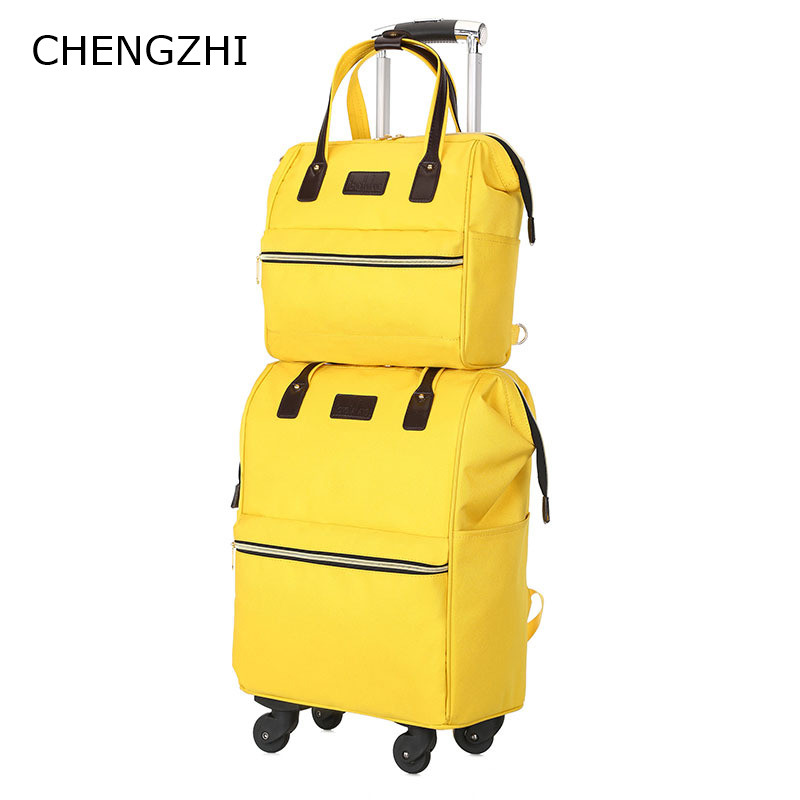 CHENGZHI 20inch Popular universal wheel travel bag female hit color trolley suitcase hand rolling luggage Can be shoulders