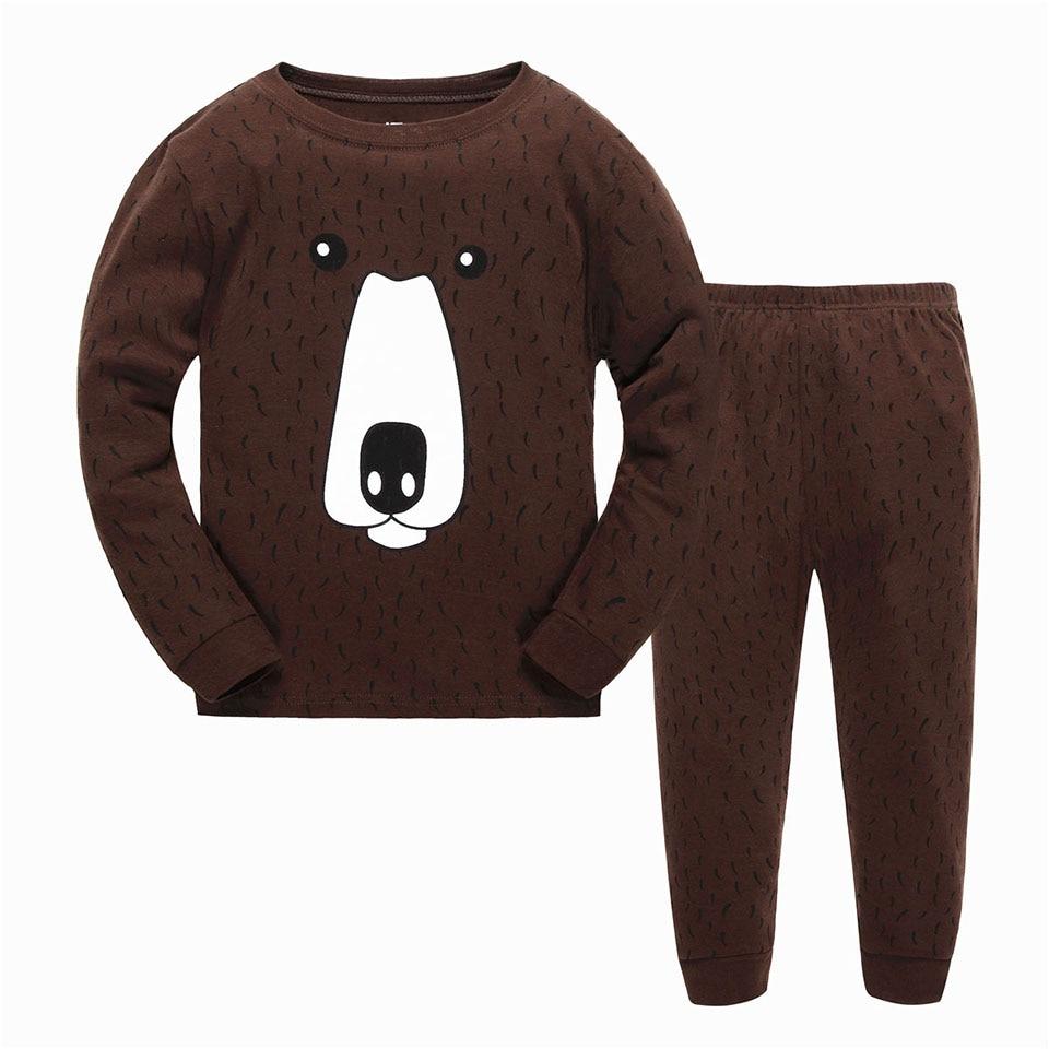 Long Sleeve Pajamas for Boys Cotton Fashion Brown Bear ...