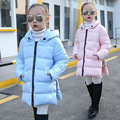 New Clothes Coat Girls Long Winter Child Korean Black Cotton Quilted Keep Warm Cotton-padded Jacket Kids Clothing Blue Pink