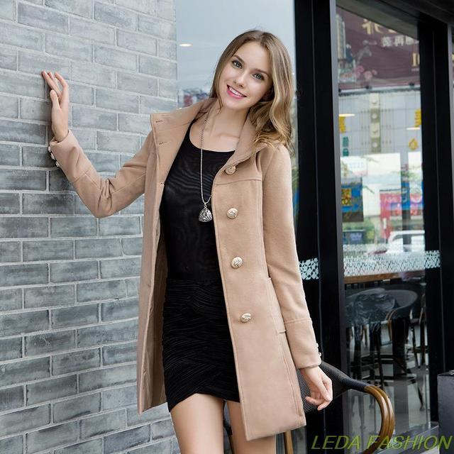 2014 Новых зимнее пальто женщин Двубортный Сращивания шерстяное пальто сплошной цвет полный рукав тонкий пальто пальто случайного женщины leda002