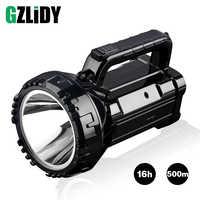 Wiederaufladbare Helle LED Taschenlampe 20 W High powered 500 m scheinwerfer Eingebaute 2800 mAh lithium-batterie Zwei arbeits modi