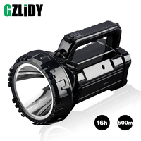 Rechargeable Bright LED Flashlight Torch 20W High powered 500m searchlights Built in 2800mAh lithium battery Two working modes