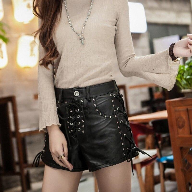 New Designer Rivet Lace Up Genuine Leather Shorts Women Luxury Sheepskin Real Leather Shorts Punk High Waist Ladies Streetwear - 6