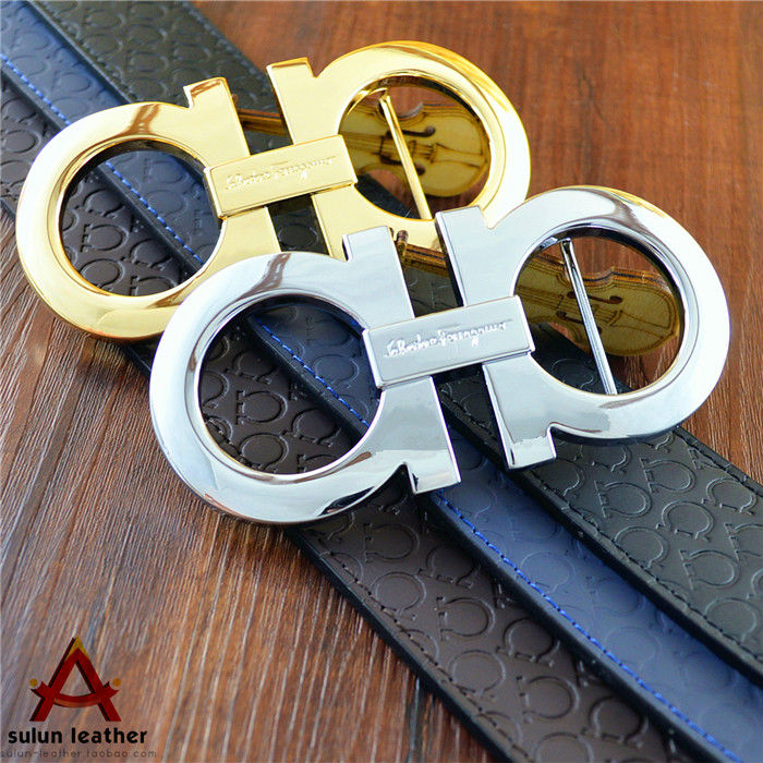 Famous Brand Name Men Cowhide Belts Gold Silver Color