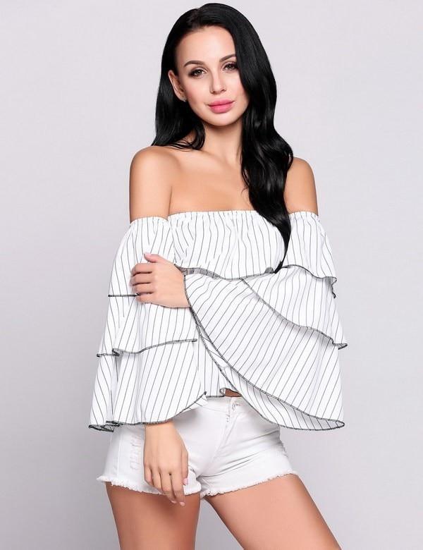 Elegant font b Women b font font b Blouses b font 2017 Summer Sexy Stripes Butterfly