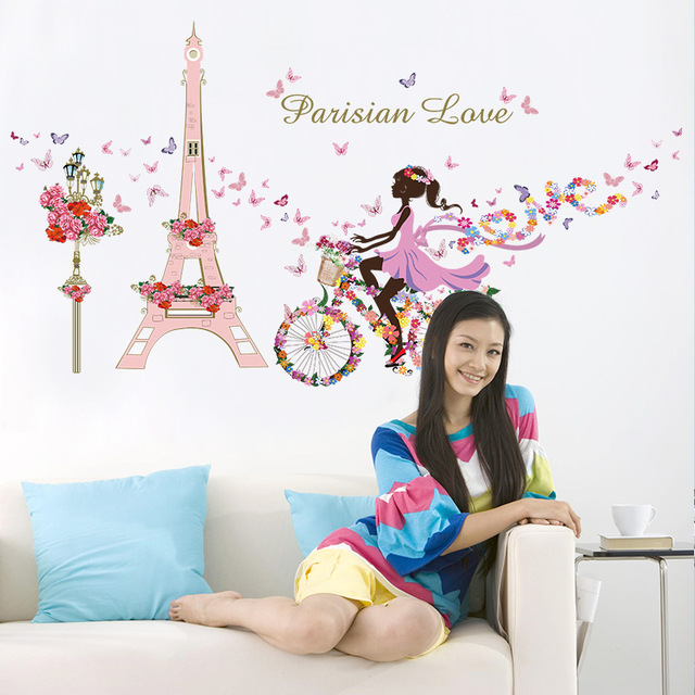 Romantic Paris Wall Sticker For Kids Rooms Eiffel Tower Flower ...