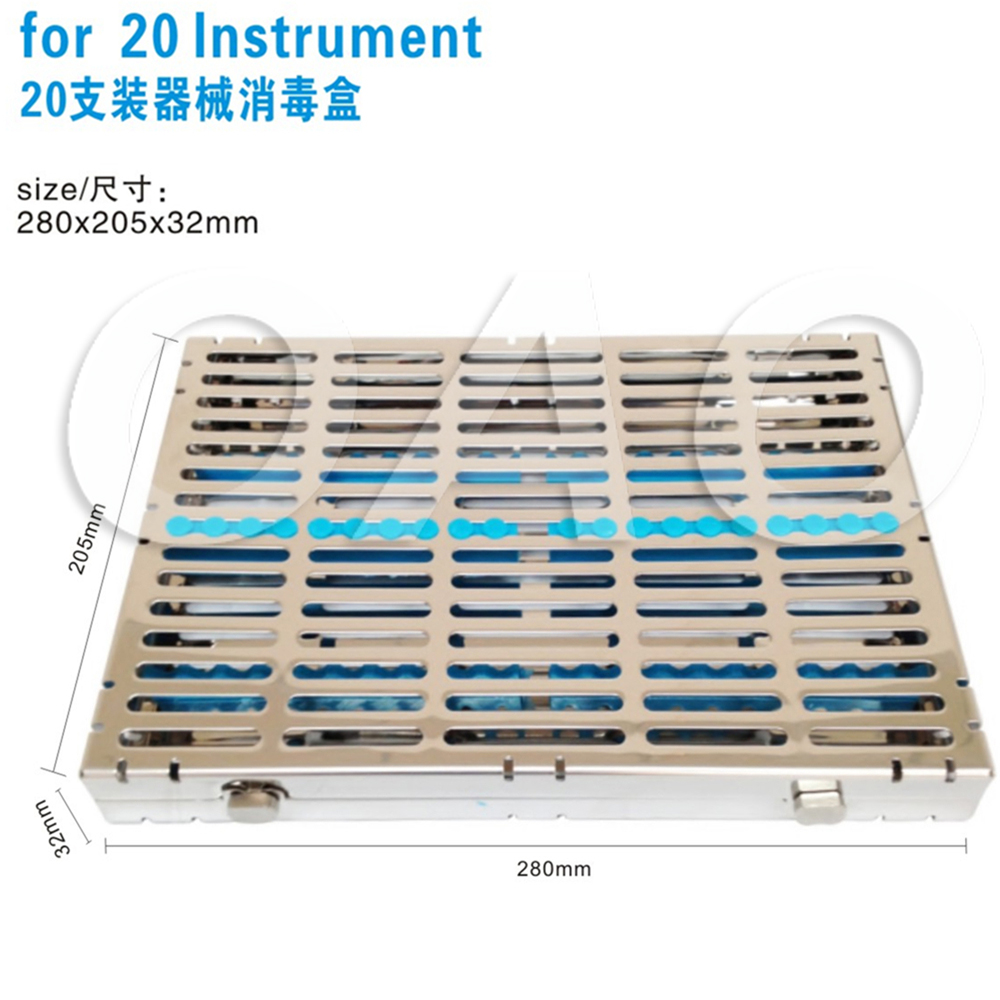 Dental stainless steel disinfection placing box for 20 pcs dental instrument for instrument disinfection plate Separable cover dental sterilization box for gutta percha root canal file high speed bur disinfection box dental tool box disinfection box sl308