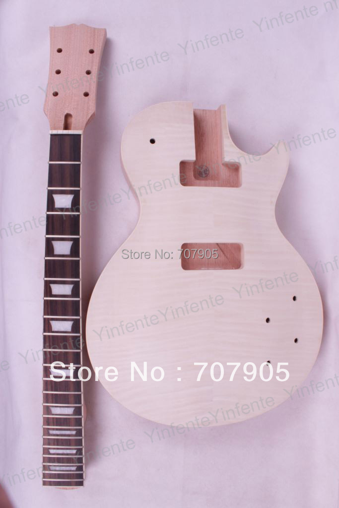 New 1set Unfinished electric guitar neck set in&Body Mahogany Flame Maple Veneer High Quality free shipping new unfinished left hand electric guitar in natural color with mahogany body diy your guitar foam box f 1195