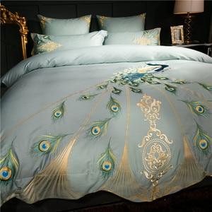 Image 3 - 60 s Egyptisch katoen oosterse borduurwerk luxe Beddengoed set pauw patroon queen king size 4/6 stks dekbedovertrek laken kussen