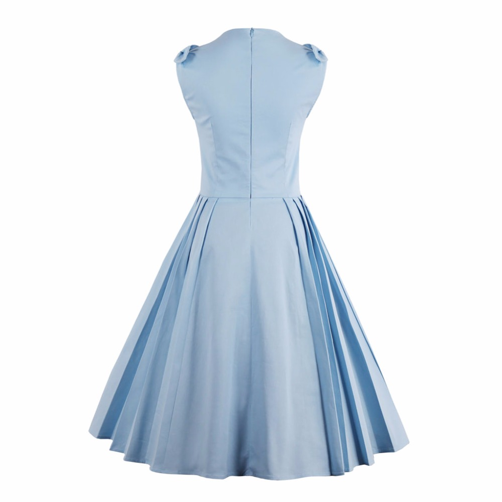 LivaGirl Women Vintage Dress Summer Elegant 1950s Retro Sleeveless ...