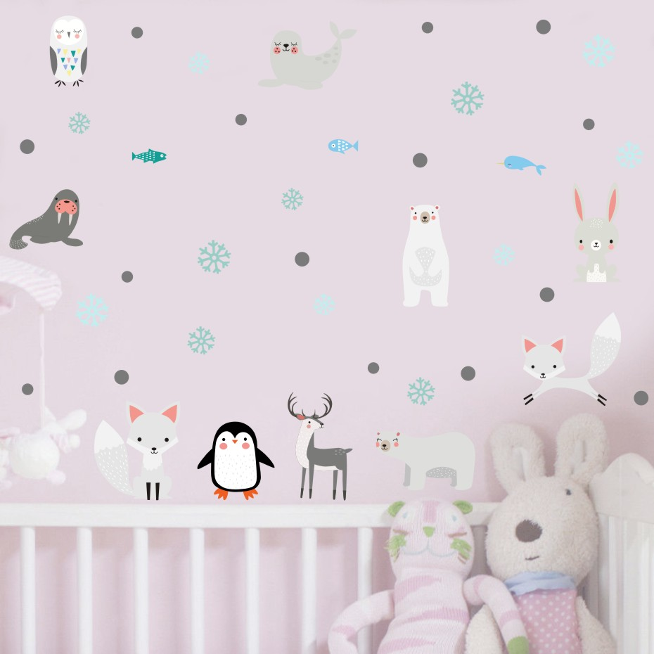 Cartoon Arctic Animals Penguin Sea Lion Wall Sticker For Kids Room Nursery Wall Art Decor Cute Dolphin Fox Diy Decals Home Decor(China)