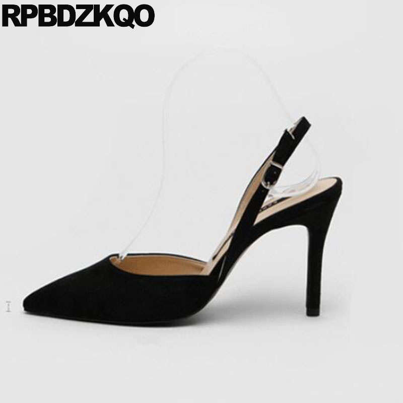 a740080fbceb Slingback 3 Inch Super Shoes Big Size Scarpin Ladies Extreme Pumps Sandals  Black Suede Nude Pointed Toe Heels High Turquoise