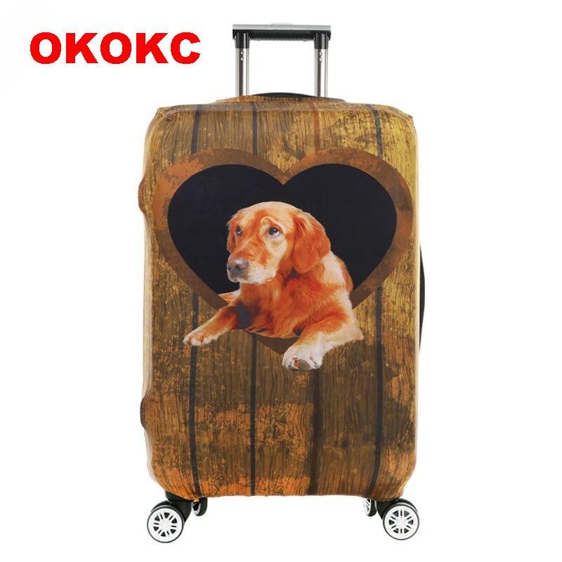 OKOKC желтой собаки толстый чемодан Крышка для багажник случае применяются к 18 -32 чемодан, эластичные Чемодан, дорожные аксессуары